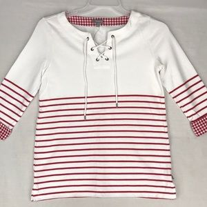 Talbots lace front pull over stripes and gingham